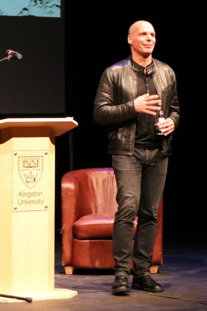 Former Greek finance minister Yanis Varoufakis spoke of how the Bard had influenced his thinking as he delivered Kingston University\'s annual Shakespeare lecture at the Rose Theatre.