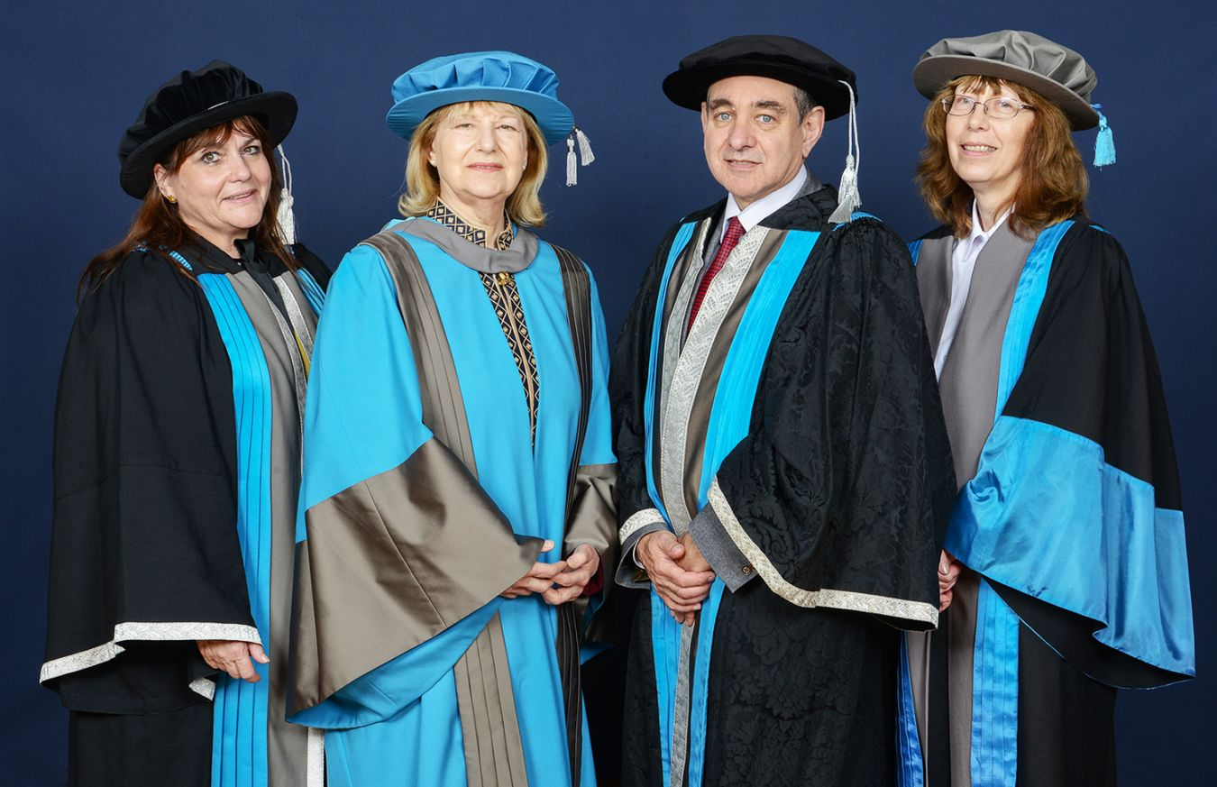 Baroness Nicholson of Winterbourne received her honorary degree at a ceremony held at the Rose Theatre in Kingston. From left to right, Professor Lesley-Jane Eales-Reynolds, Kingston University pro vice-chancellor (education), Baroness Nicholson of Winterbourne, Professor Julius Weinberg, Kingston University vice-chancellor and Dr Stephanie Morgan, associate dean for the Faculty of Business and Law.