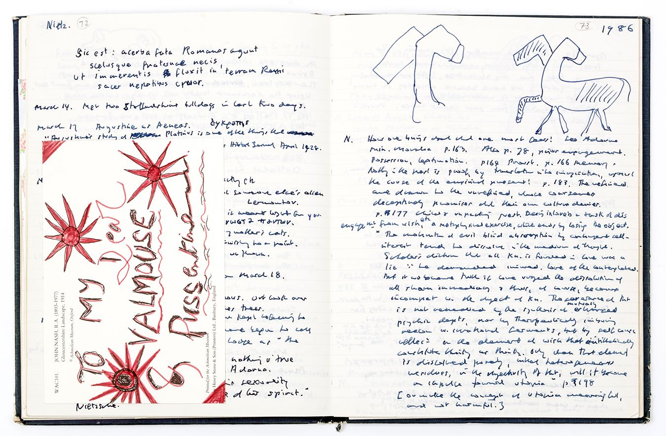 A photo of one of Iris Murdoch\'s open journals
