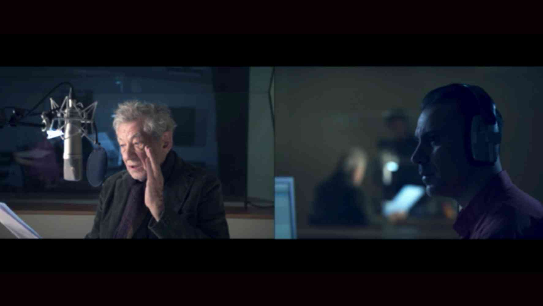 'The Father as 'Spectre':  Two Hamlets meet: Feature Film in Production - Ian McKellen plays the 'Ghost': Ben Turner plays Hamlet: Set in a recording studio this double screen sequence was shot using two parallel cameras and incorporated the 'resistances' generated by the sound equipment. Specific to digital developments in film. In a way that Shakespeare or the theatre could not envisage or produce.