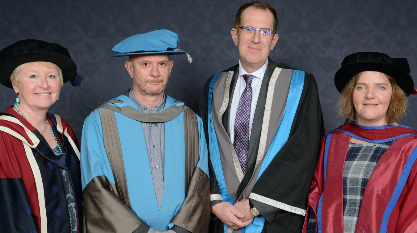From left to right: Associate professor Alison Baverstock, Nick Hornby, Professor Steven Spier and Dr Trish Reid at the Rose Theatre in Kingston.