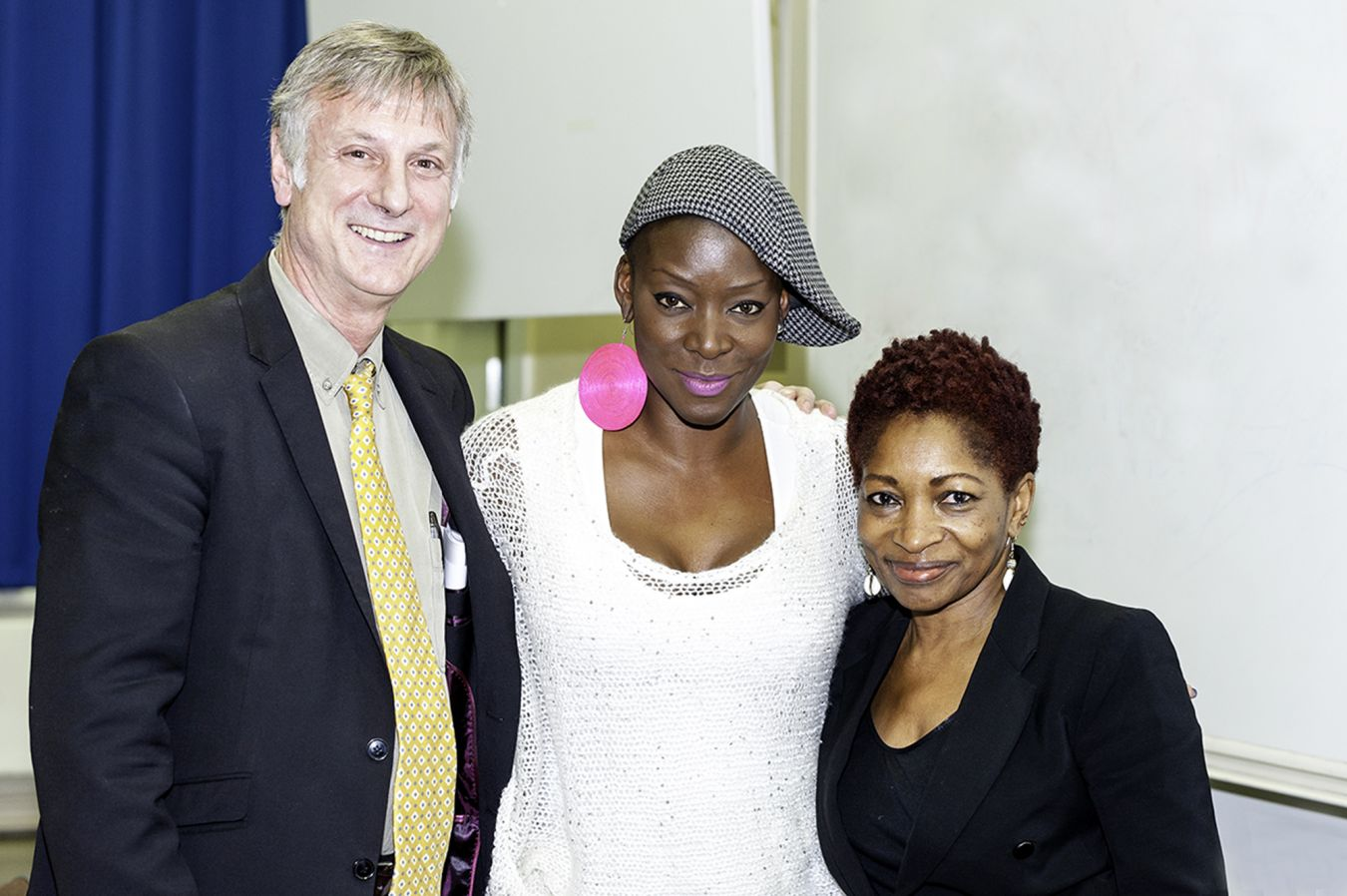 Dr David Rogers, Director of the Kingston Writing School, with competition winner Michele Henningham (centre) and Kingston University Chancellor Bonnie Greer OBE.