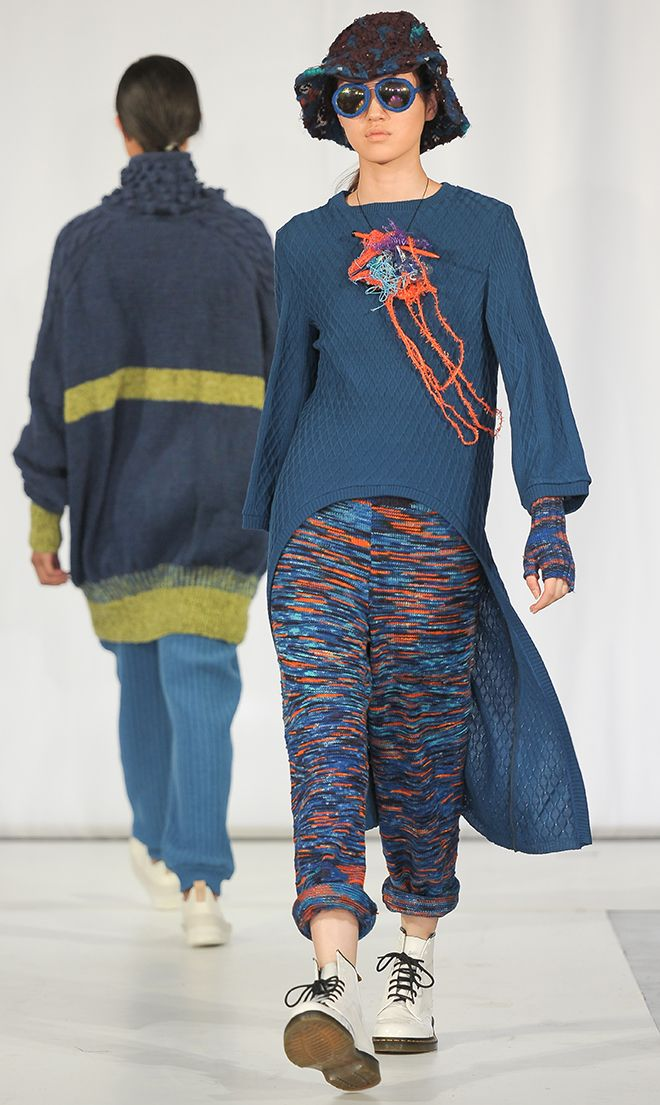 The young designers and their Women's Institute volunteers created an eclectic range of eye-catching knitwear which included sophisticated sportswear and an androgynous trouser suit and jumper.