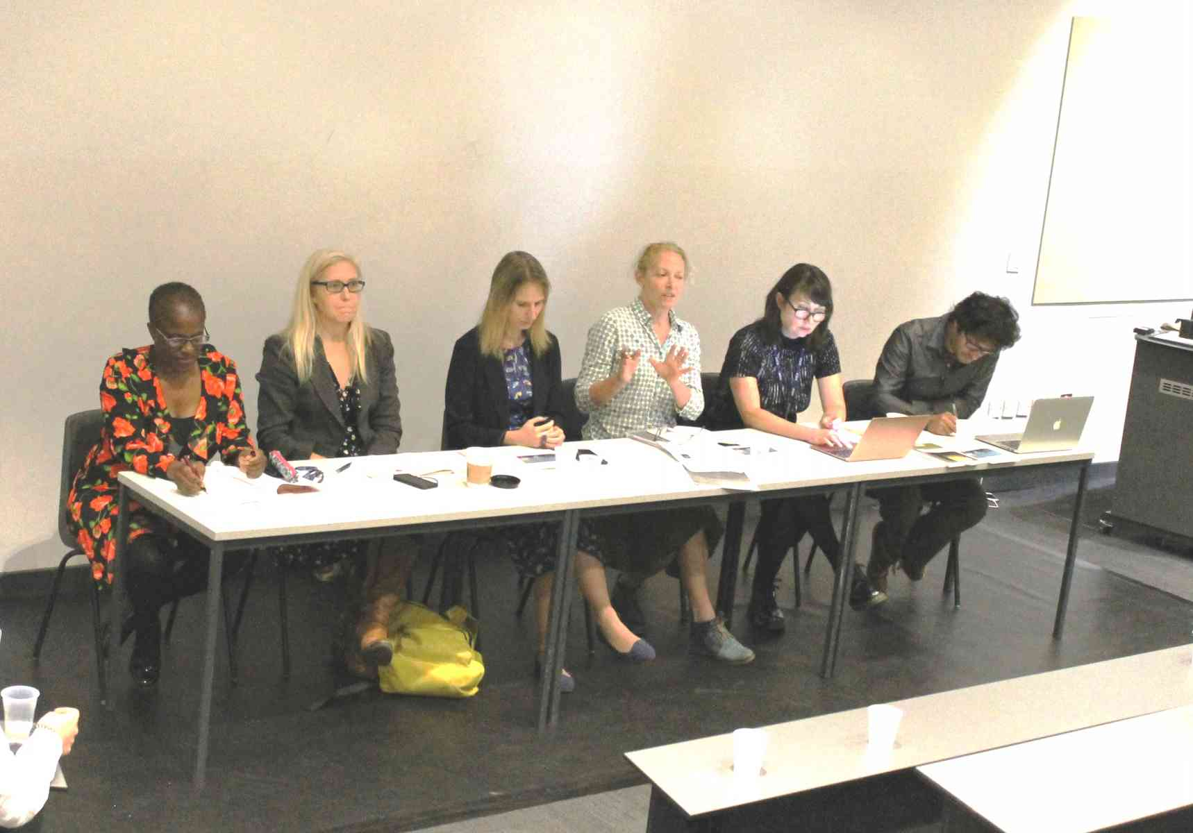 Roundtable - Names from L to R: Winsome Pinnock; Prof. Anna Hickey-Moody; Associate Prof. Sara Upstone; Prof. Tina Chanter; Prof. Felicity Coleman; Arun Saldanha