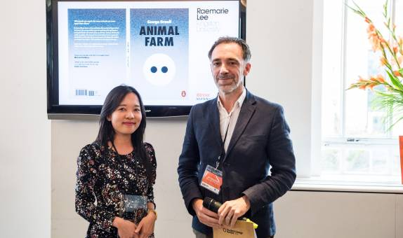 Kingston School of Art designer wins Penguin Random House Student Design Award for minimalist Animal Farm book cover inspired by childhood song
