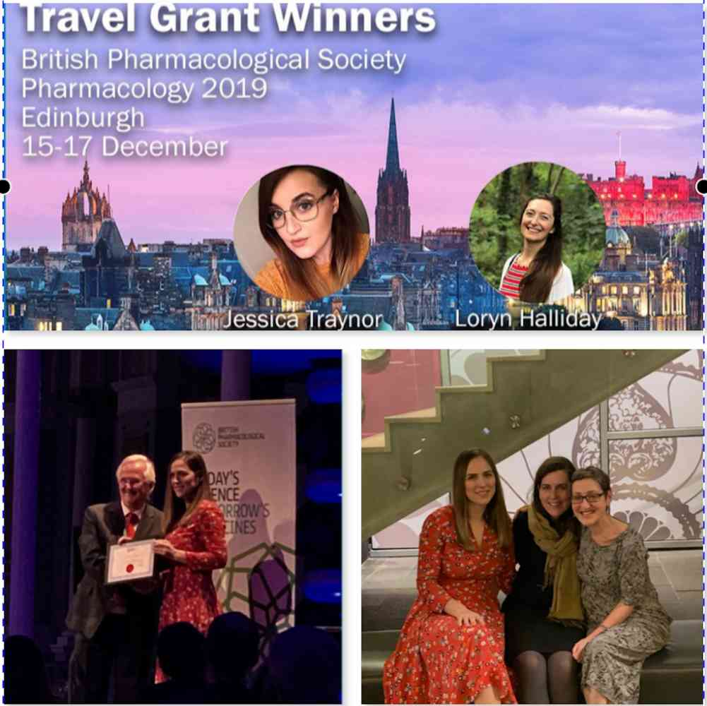 BPS  Edinburgh 2019 successes! - PhD students old (Blerina Ahmetaj Shala- Bulbring Award ) and new (Loryn Halliday Tocris Travel Award)  collect awards , and I meet up with my PhD supervisor Jane Mitchell