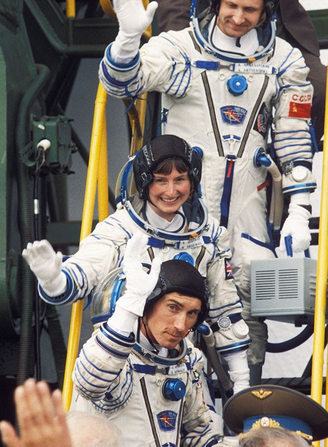 Scientist Dr Helen Sharman at the space port in Russia in 1991. Photo by Gro/REX/Shutterstock