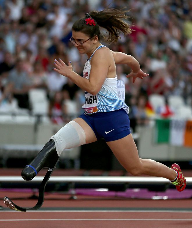 Great Britain\'s Sophie Kamlish wins gold in the T44 100m. Image: Image: Paston/BPI/Rex/Shutterstock.