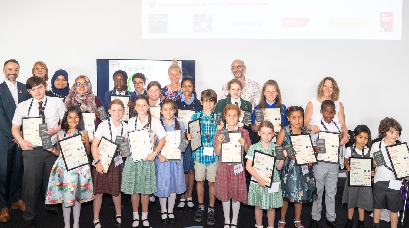 This year's crop of budding young engineers who were selected as winners at the Primary and Secondary Engineer competition with their certificates.