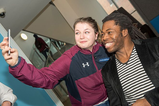 Ade spent time talking to Kingston University\'s talented athletes