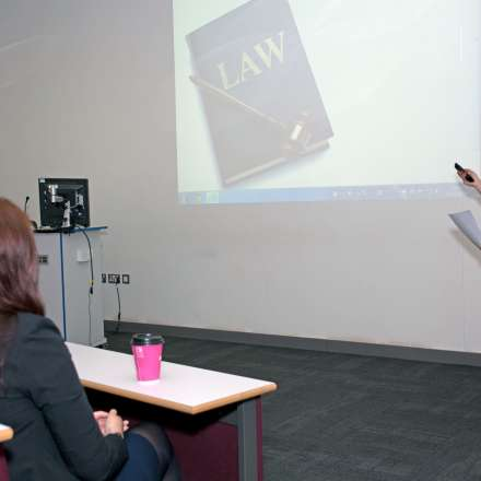 Law student giving a presentation