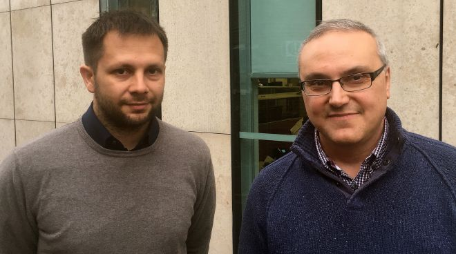 Associate Professor Vasileios Argyriou (left) and Professor Paolo Remagnino (right), from the University's Robot Vision team working on the MONICA project