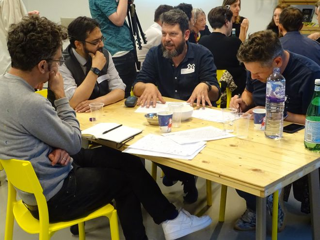 Professor Daniel Charny facilitating a workshop with teachers and practitioners at the FixEd Think-Ahead-Tank: The future of designing and making in schools. September 2019. Image credit FixEd.