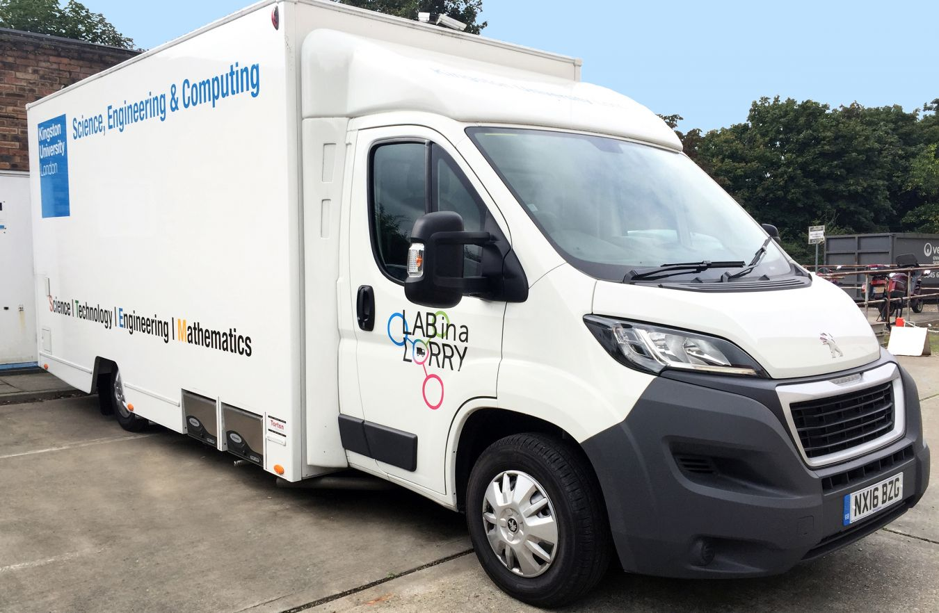 One of Kingston University\'s new mobile laboratories that is taking STEM activities out on the road to London schools