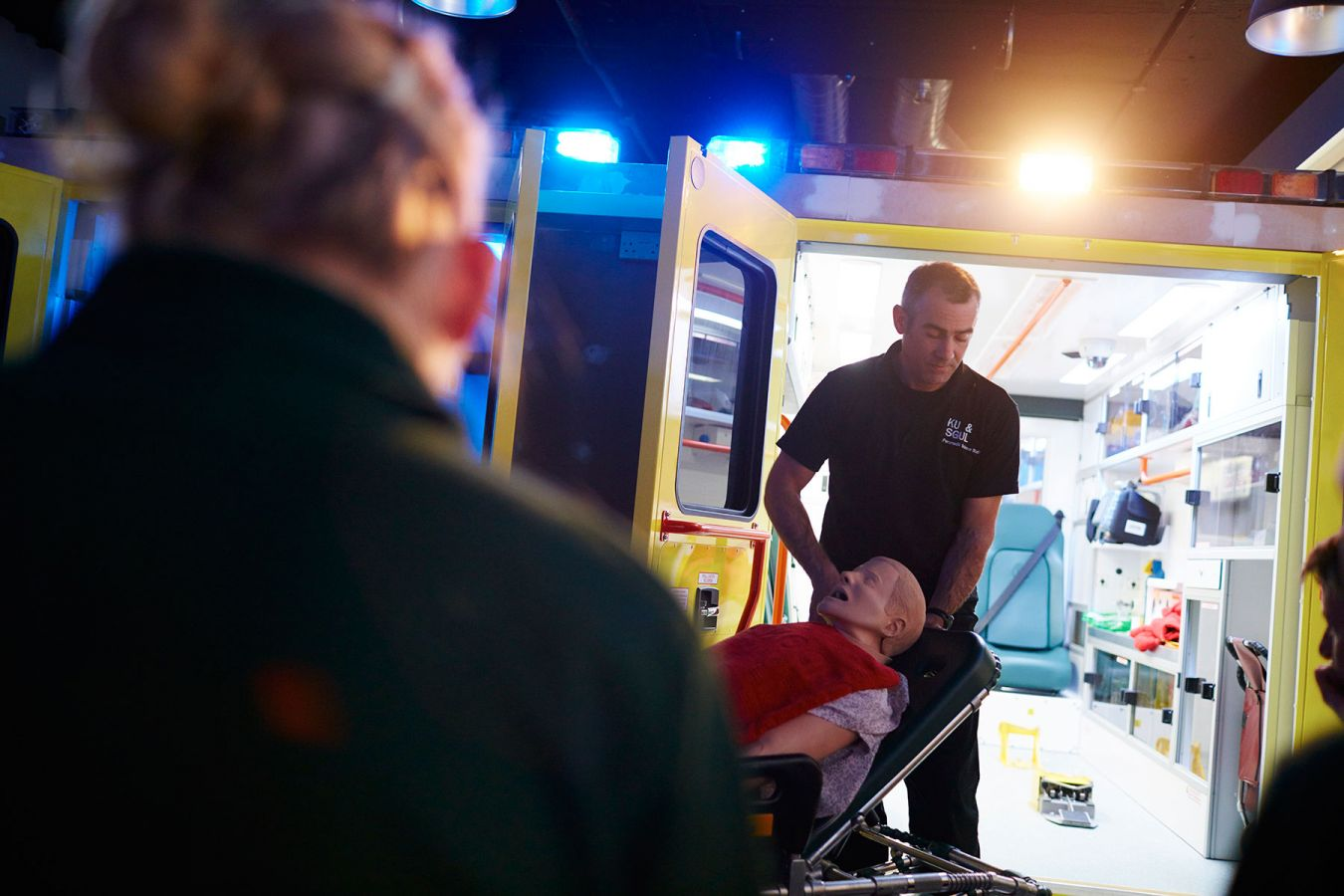 Trainee paramedics have the chance to practice their clinical skills within the confines of the back of a fully kitted out ambulance.