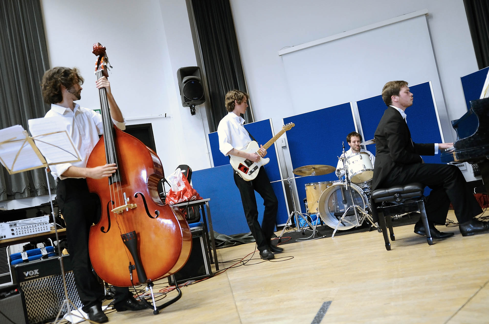 Music students rehearsing in one of the studios at Coombehurst House
