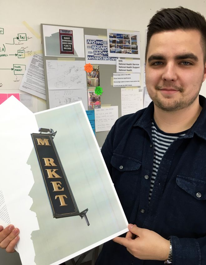 Graphic design student Liam Dargan won gold at the Creative Conscious Awards for his work with the Darwen community.