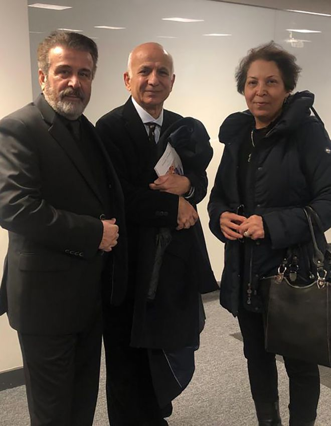 Niloufar Ebrahim\'s parents Shahin and Masood with former Kingston University staff member Dr Bahram Ghiassee (centre) at the memorial service.