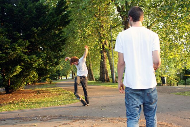 Skateboarding in Canbury Park