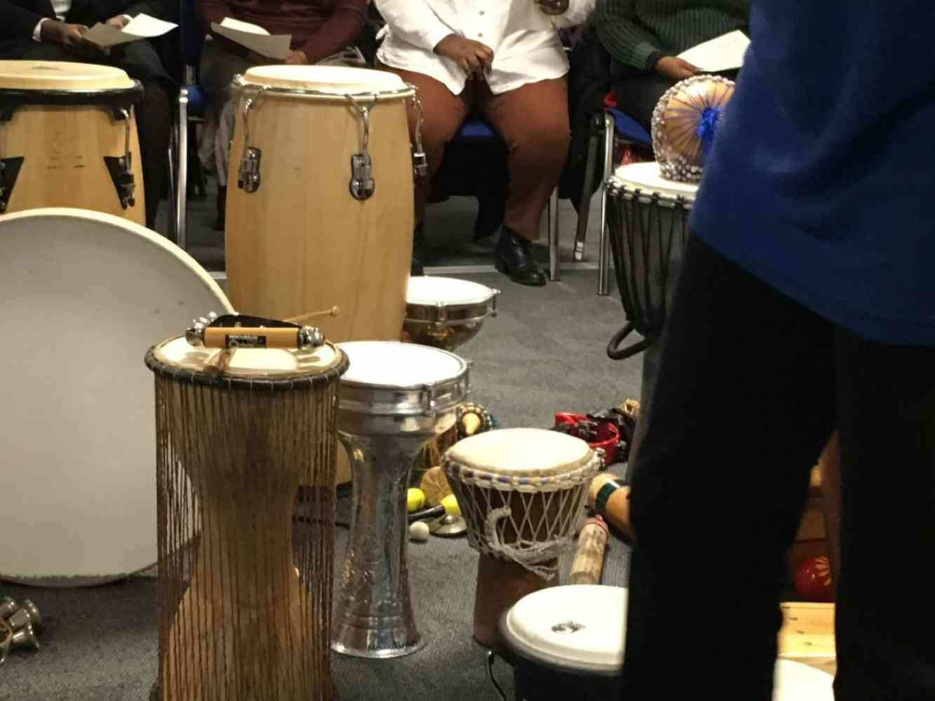 preparing for drumming - workshop on leadership