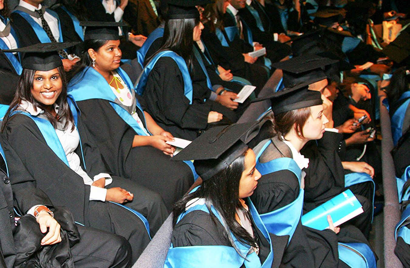 A photos of Kingston University students at their graduation ceremony