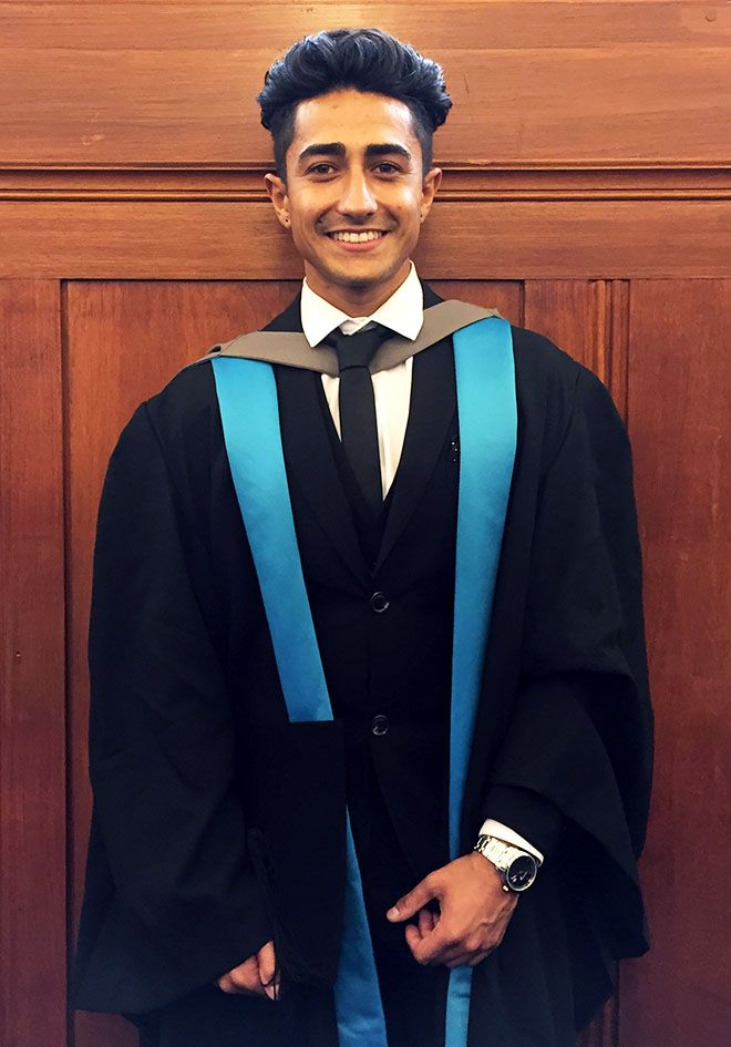 Picture of Anthony Sahota in graduation robes