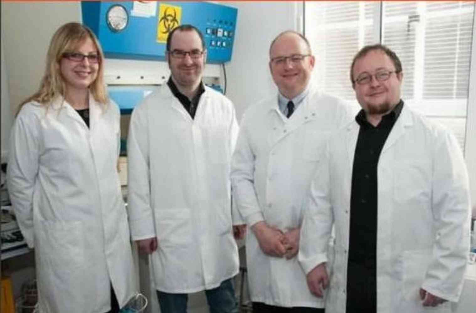 Team LGX from 2014 - Left to right: Dr Lauren Mulcahey-Ryan, Dr Alex Sinclair, Prof Mark Fielder and Dr Adam Le Gresley