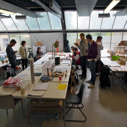 Students at work in one of the design studios