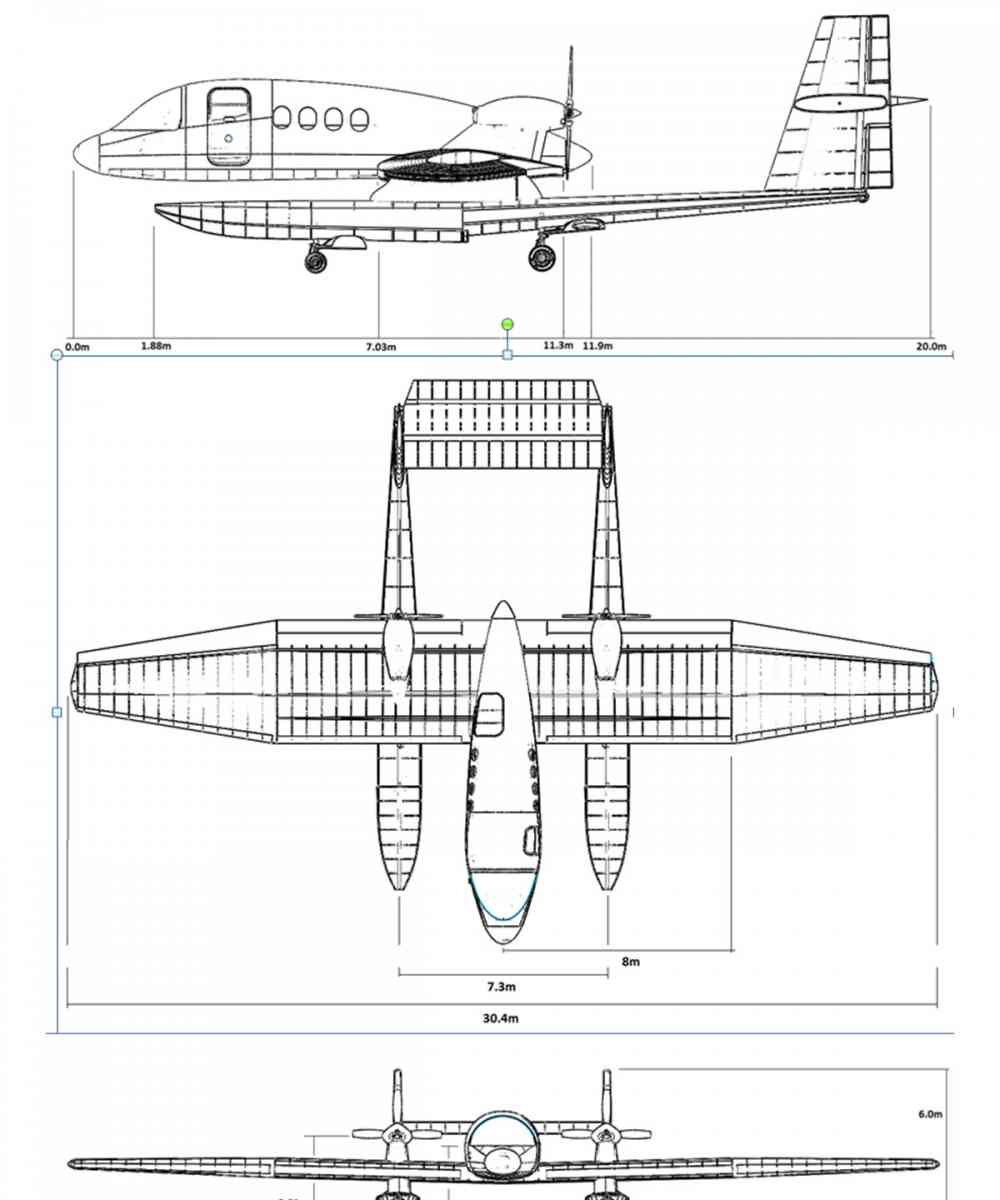 3 view diagram of the finished model