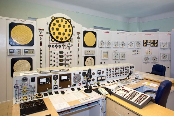 A mock control room inside the Obninsk building.