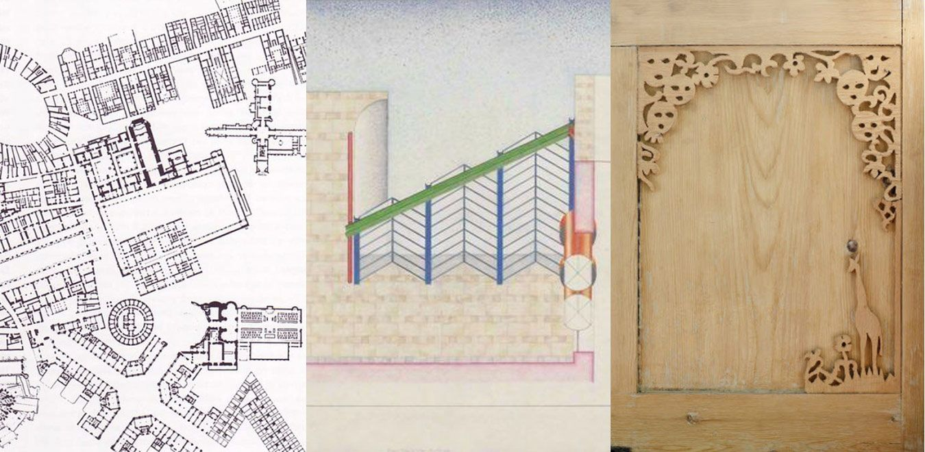 Collage City (Rowe), Neue Staatsgallerrie (Stirling) and cupboard door (Asalache)