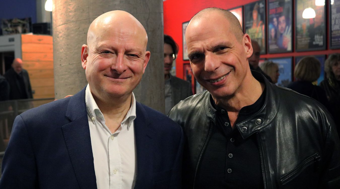 Kingston University\'s Peter Hall Professor of Shakespeare Studies Richard Wilson with former Greek finance minster Yanis Varoufakis at the Rose Theatre event.