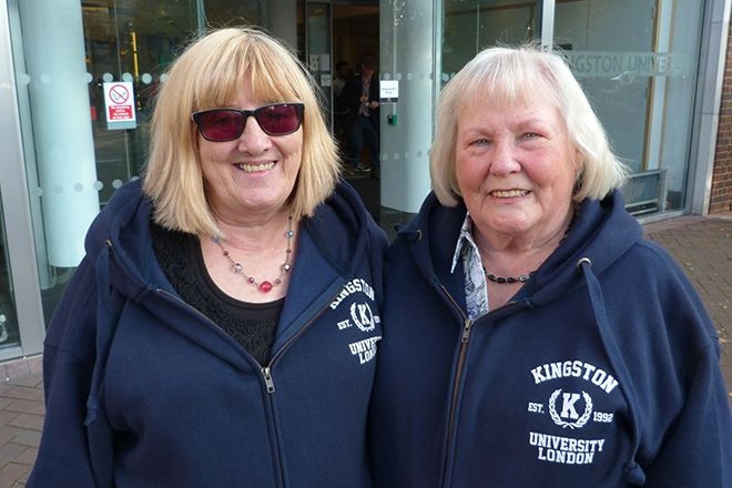 Writing chums Hilary Chalkly and Carol Marshall have embraced campus life at Kingston University