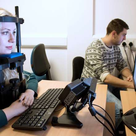 Eye-tracking equipment in the psychology lab