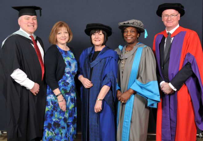 Left to right: Professor Tom Quinn, Professor Jane Cummings, Dr Julia Gale, Dr Val Collington, Professor Andy Kent.