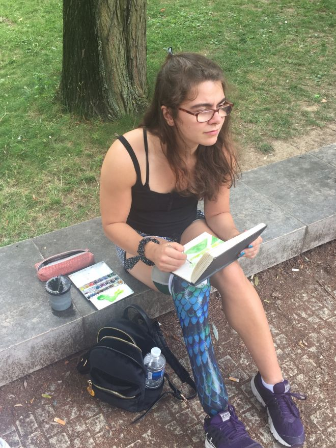 Illustration and animation student Sophie Kamlish taking a break from training to do some sketching in Paris' Parc De Bercy.