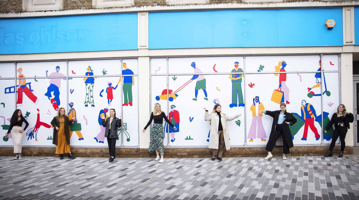 Vacant shop fronts transformed into creative canvases as Kingston School of Art students bring vibrant and inventive artwork to Kingston's high street