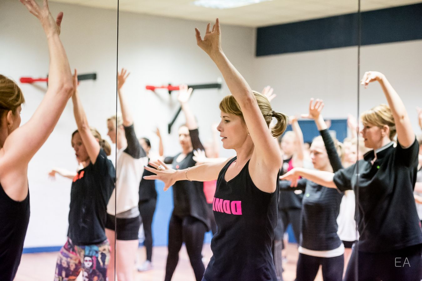 Darcey Bussell took a break from her Strictly Come Dancing judging duties to put Kingston University students through their paces during  an hour-long dance aerobic workout.