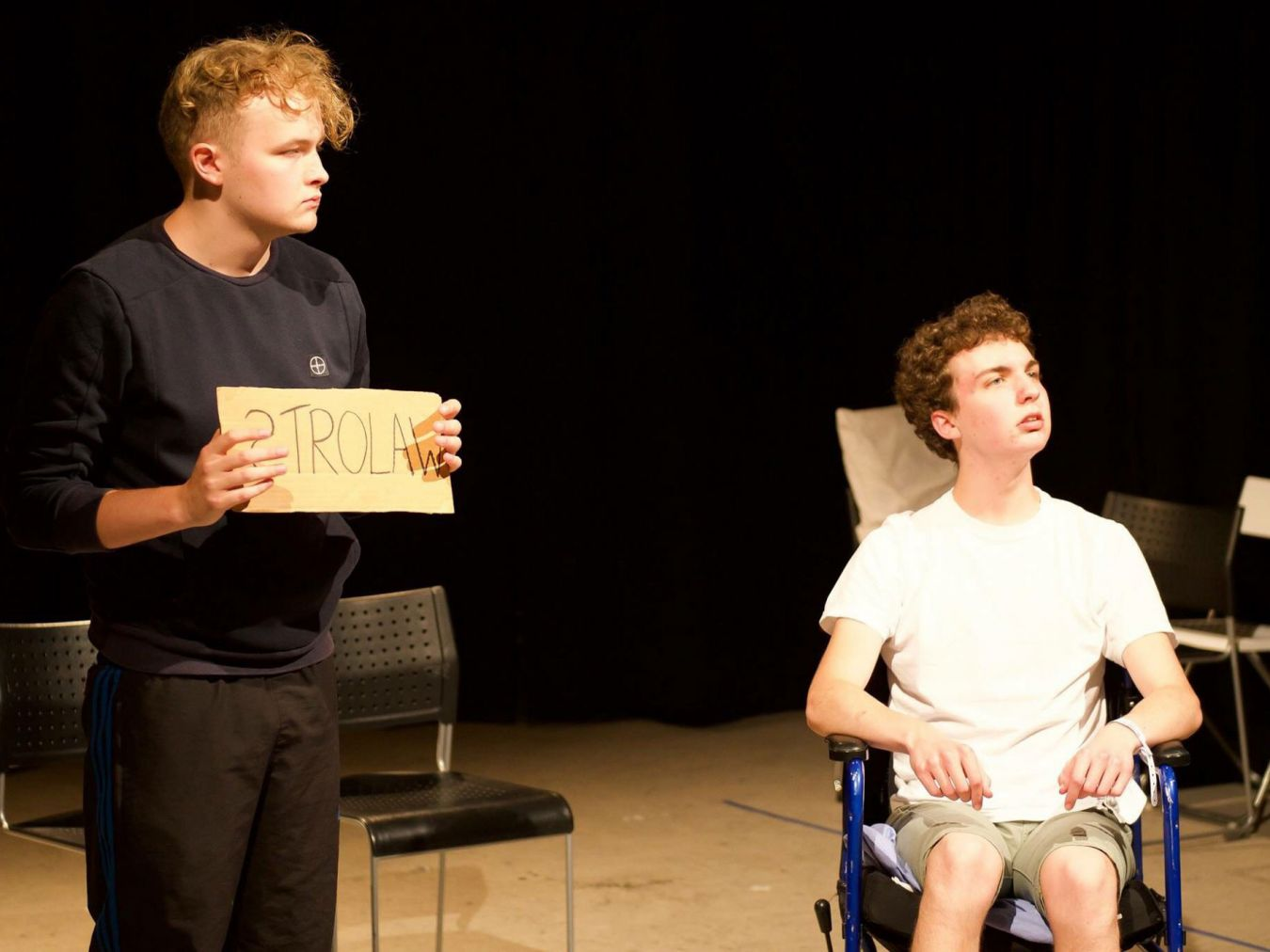 Matthew Mahoney (right) stars as a teenager struggling with disability in a play inspired by the life of Jack Binstead.