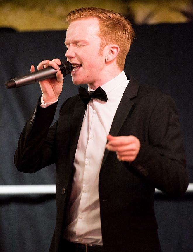 Music student Phil Brookes singing at the Civic Reception.
