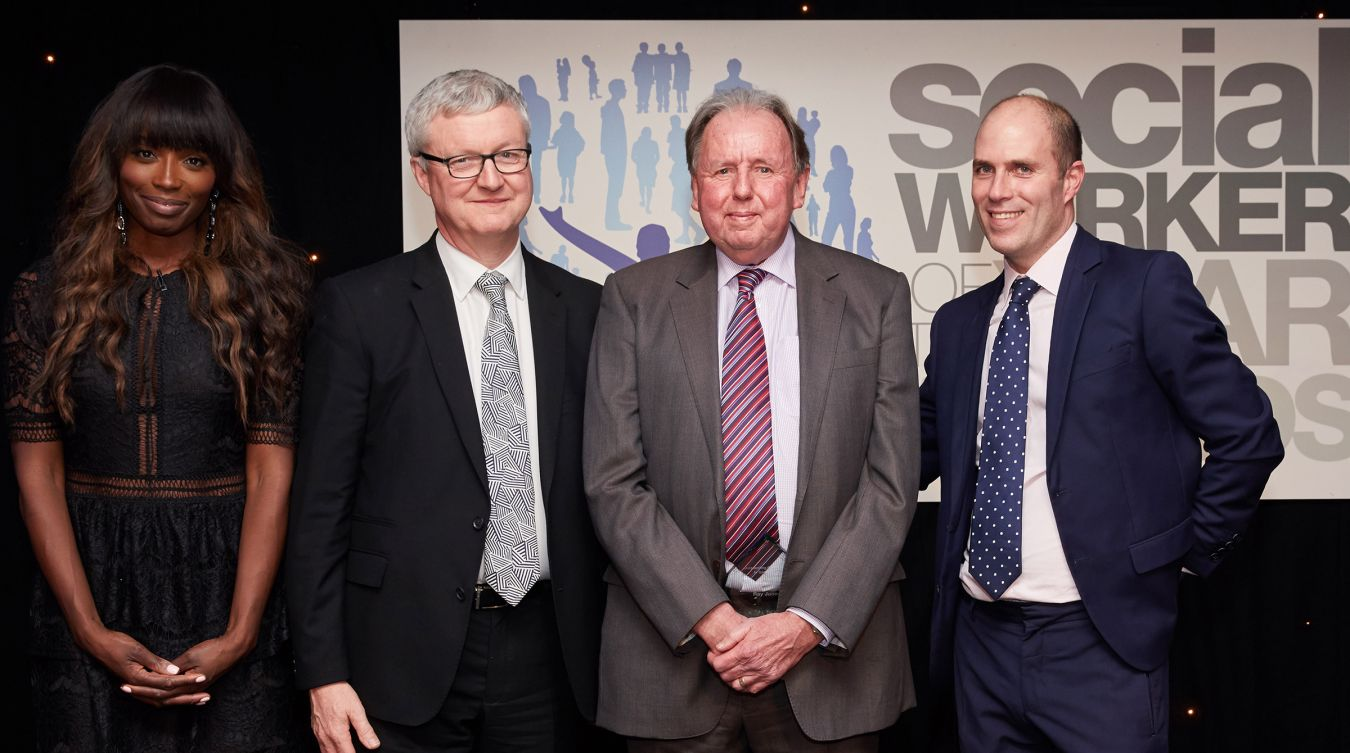 Professor Ray Jones (second left) with, left to right, celebrity Chef and Awards Patron Lorraine Pascale,Peter Hay CBE, Chair of the Social Work Awards and James Rook, chief executive of headline sponsor Sanctuary Social Care.