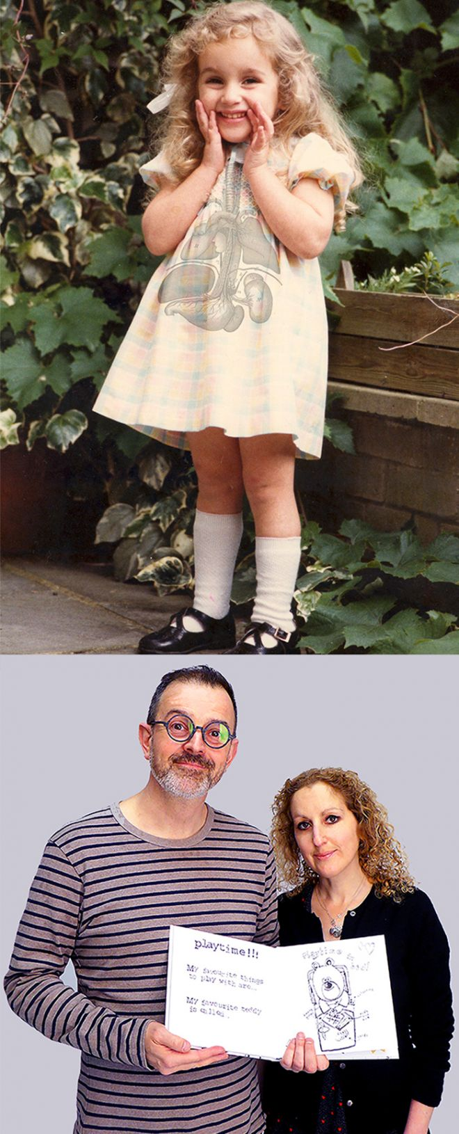 Photo of Georgina Potier as a 7 year old child and a photo of Dr Jake Abrams with Georgina Potier and the My New Kidney book.