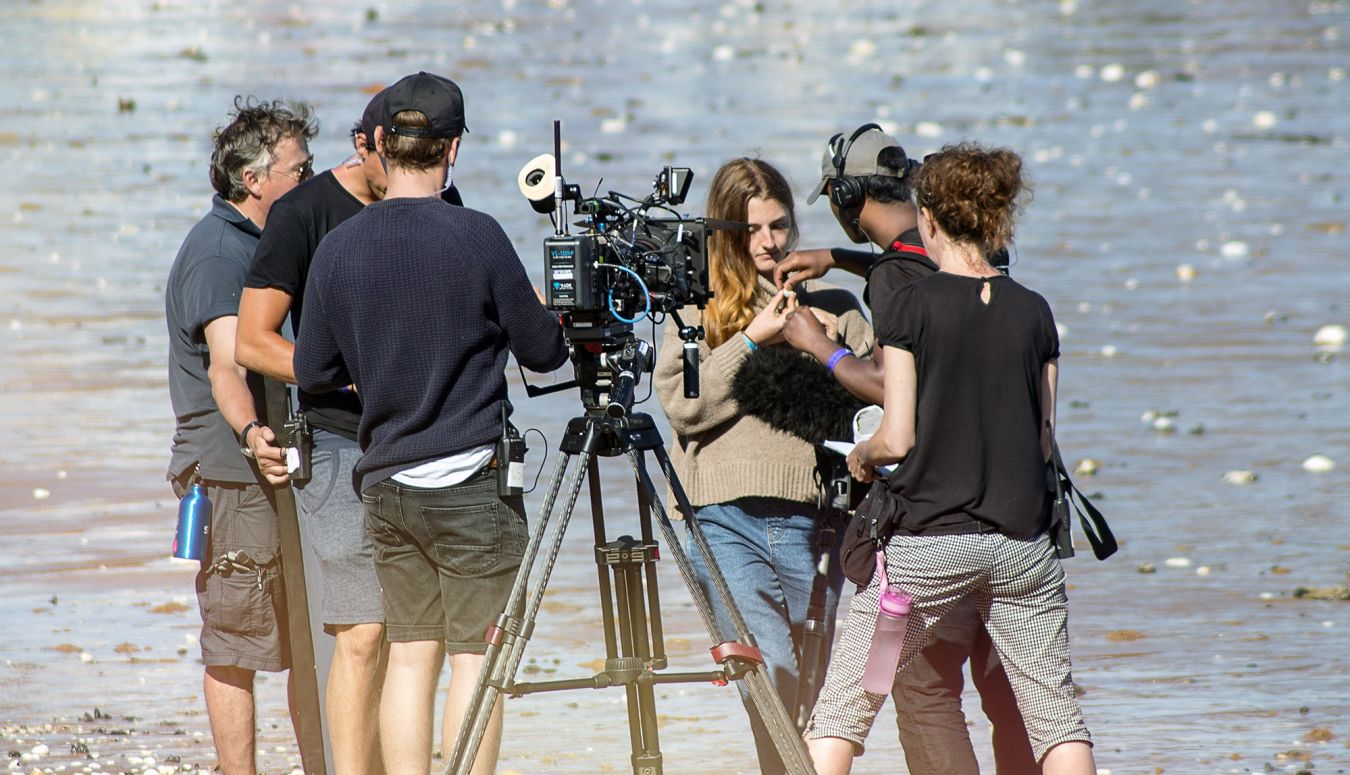Lorna is prepared by the filming crew before being interviewed as part of the show
