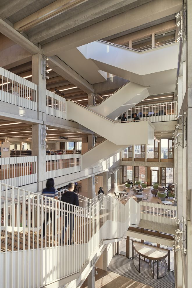 The £50 million building houses a three-floor - library, a courtyard-style lecture and performance space, dance studios and a studio theatre. Picture credit - Ed Reeve