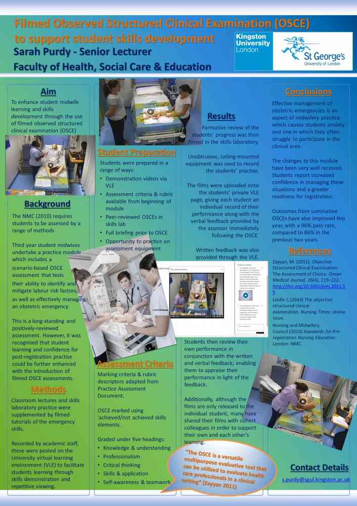 Poster presented at Southampton University and Bournemouth University conferences 2018 - Filmed Observed Structured Clinical Examination (OSCE) to support student skills development