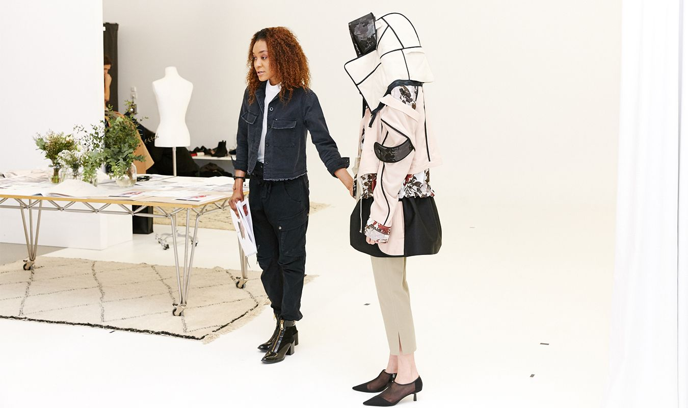 MA Fashion student Dardana Djantio-Etchiko presented her recycled garment design to the jury at Zara\'s headquarters in La Coruña in Spain. PHOTO: ZARA