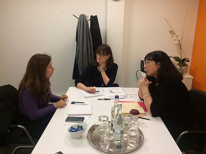 Dr Meg Jensen and collaborators Dr Siobhan Campbell of the Open University and Asmaa Al Ameen of the INMAA organisation in Iraq during their collaboration and scoping session