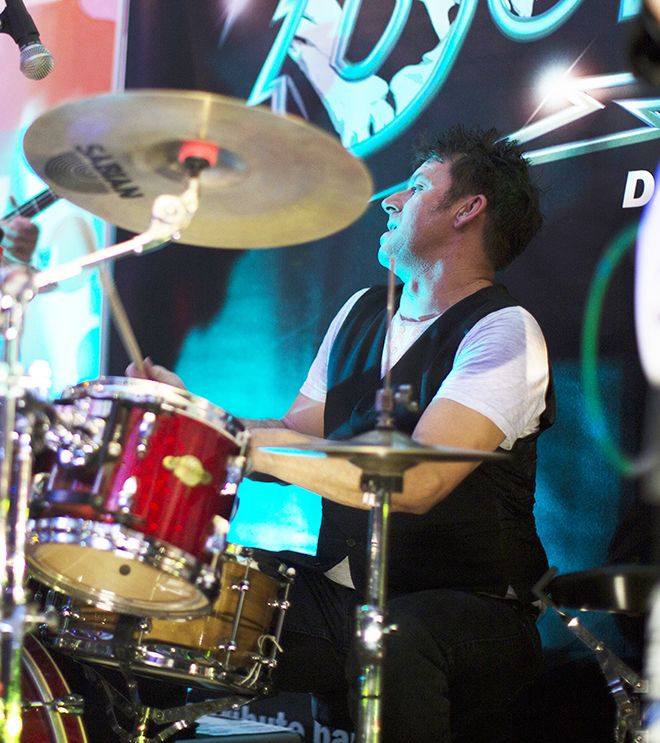 A photograph of Steve Weaver, drummer for Thin White Duke, Bowie tribute band.
