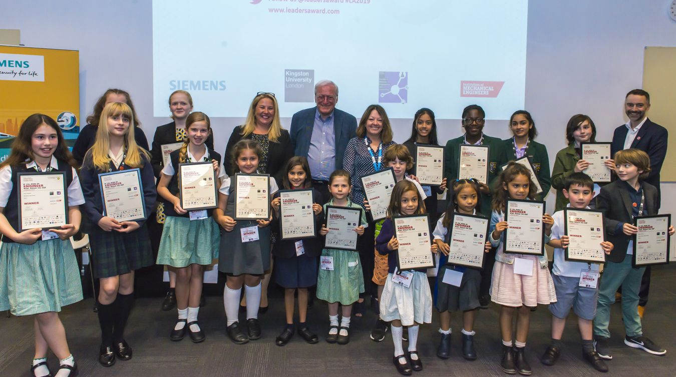 The primary and secondary school pupils who were named winners at this year\'s Primary Engineer London awards at Kingston University, with Professor John Perkins, former chief scientific adviser to the Department for Business Innovation and Skills, Dr Lucy Jones and Stacey Davies, Head of Finance for Siemens Global Business Services, North West Europe.