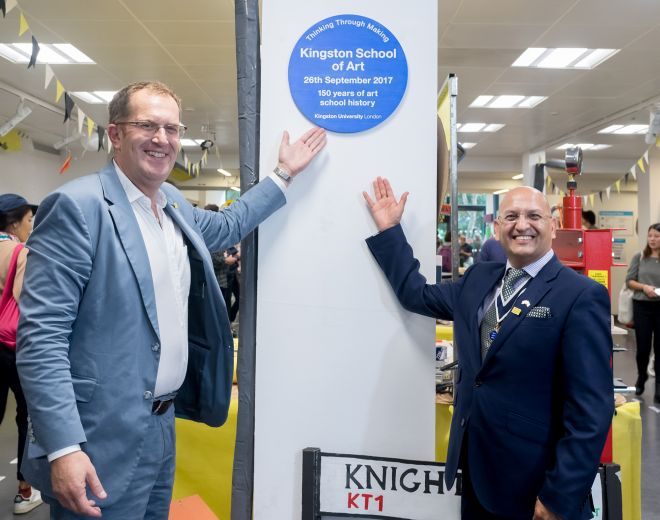 Kingston University Vice-Chancellor, Steven Spier and Former Kingston upon Thames Mayor Roy Arora officially open Kingston School of Art